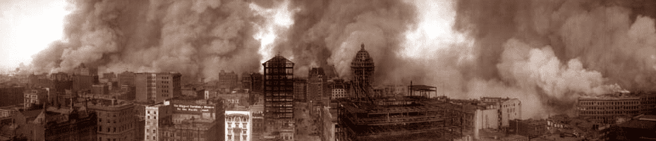 photo of San Francisco burning after the 1906 earthquake; view from the St. Francis Hotel