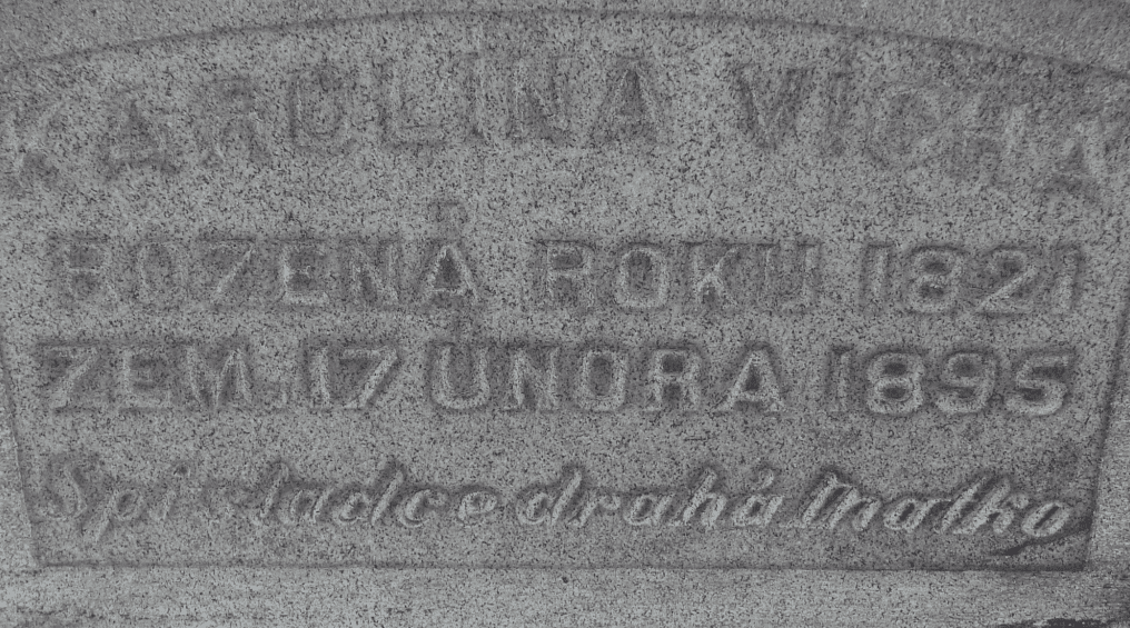 photo of the headstone for Karolina Vicha
