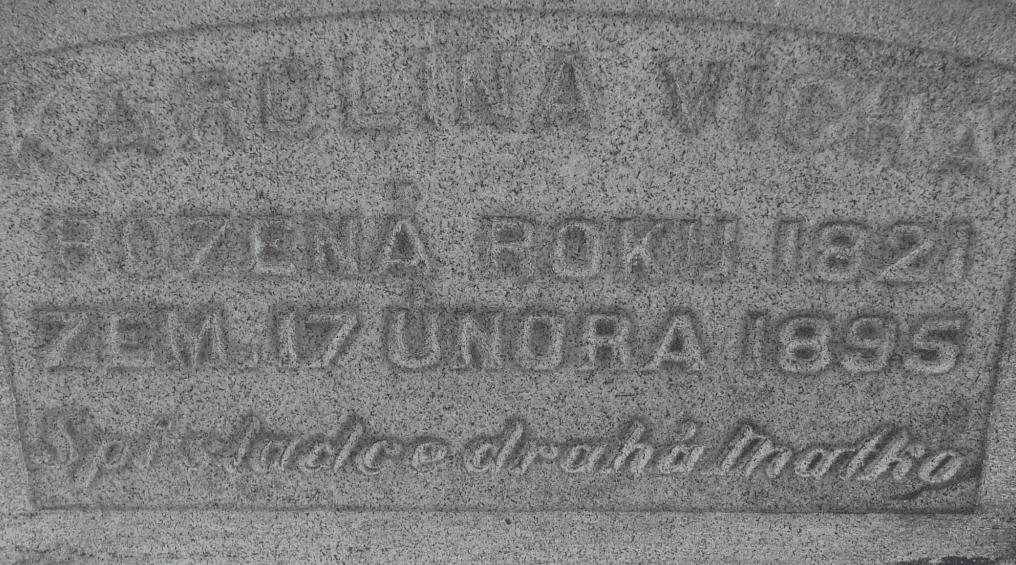 photo of the headstone for Karolina Vicha