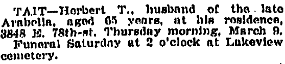 death notice for Herbert Tait, Plain Dealer newspaper article 11 March 1911