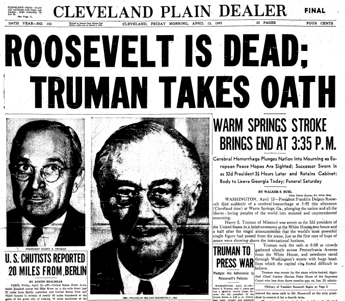 front page news about the death of President Franklin D. Roosevelt, Plain Dealer newspaper articles 13 April 1945
