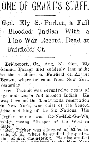 obituary for Ely Samuel Parker, Plain Dealer newspaper article 1 September 1895