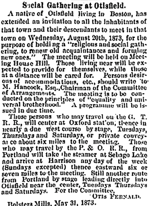 Social Gathering at Otisfield, Portland Daily Press newspaper article 3 June 1873