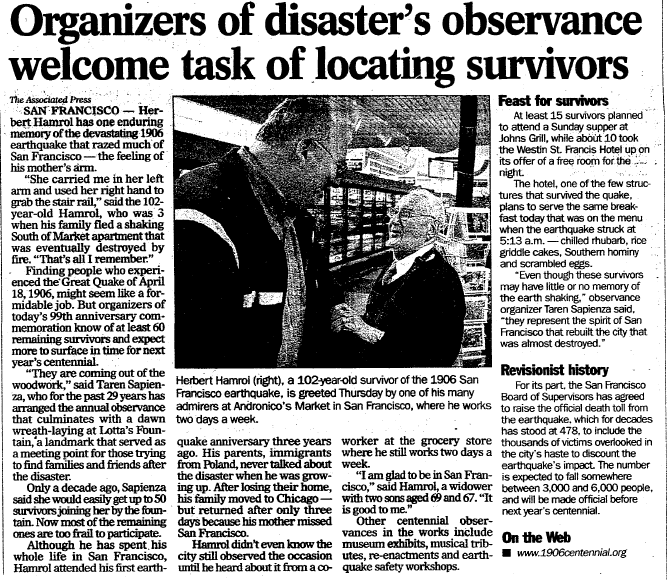 article about the survivors of the 1906 San Francisco earthquake, Register Star newspaper article 18 April 2005
