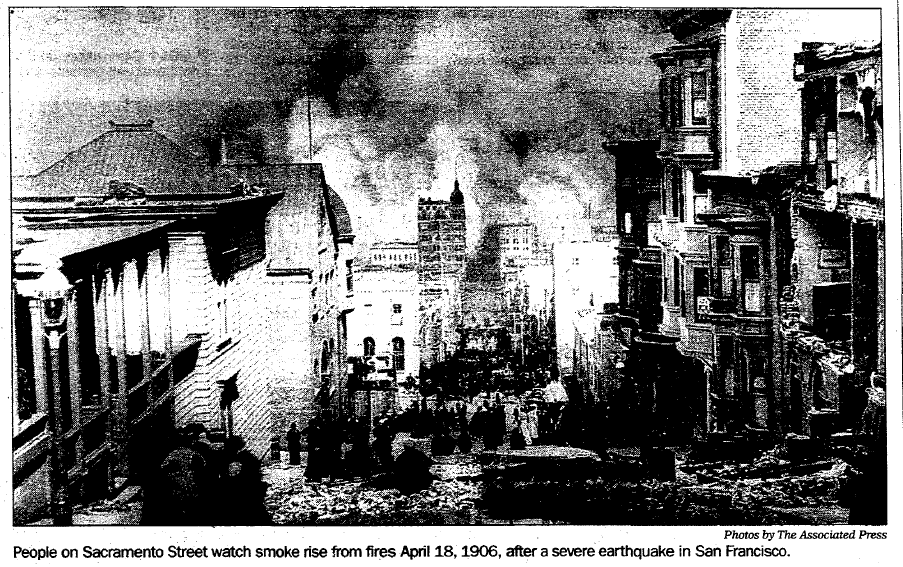 photo of the fires raging after the 1906 San Francisco earthquake, Register Star newspaper article 18 April 2005