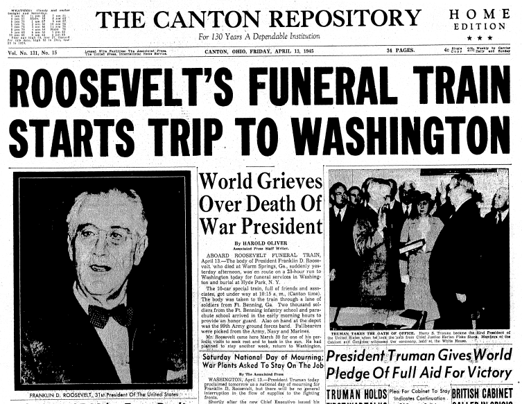 front page news about the death of President Franklin D. Roosevelt, Repository newspaper articles 13 April 1945