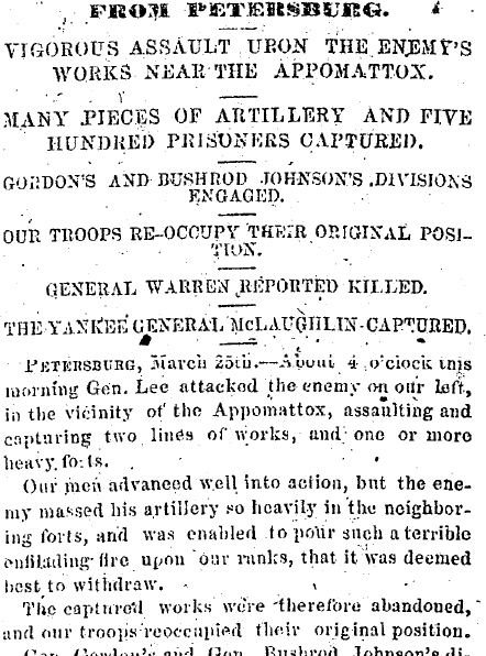 Vigorous Assault upon the Enemy's Works near the Appomattox, Richmond Whig newspaper article 28 March 1865