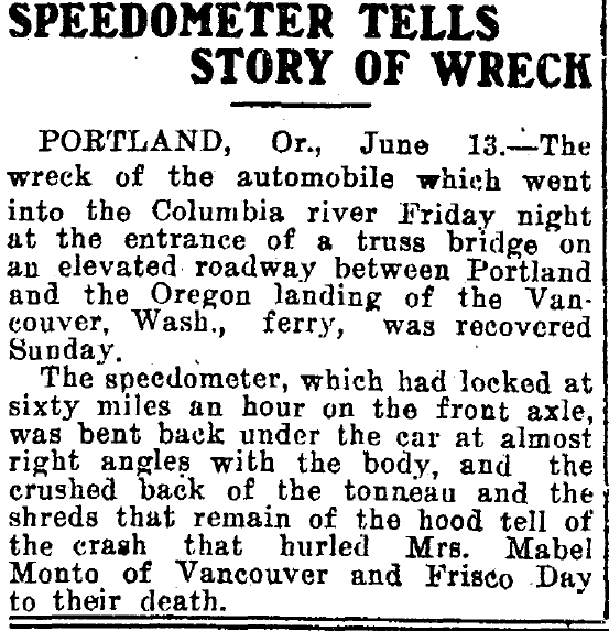 article about the fatal car accident of Frisco Day, Salt Lake Telegram newspaper article 13 June 1910