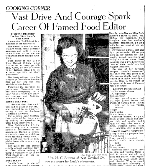 Vast Drive and Courage Spark Career of Famed Food Editor (Clementine Paddleford), San Diego Union newspaper article 1 February 1959