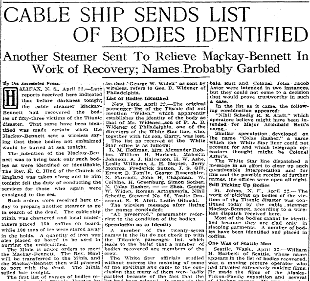 Cable Ship Sends List of Bodies Identified (from the Titanic), San Diego Union newspaper article 23 April 1912