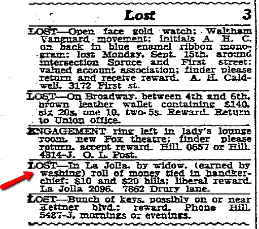 newspaper lost and found ads, San Diego Union newspaper advertisements 22 September 1930