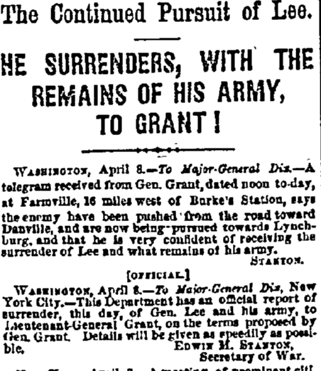 article about Civil War General Lee surrendering to General Grant, San Francisco Bulletin newspaper article 10 April 1865