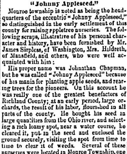 article about Johnny Appleseed, Sandusky Register newspaper article 17 September 1857