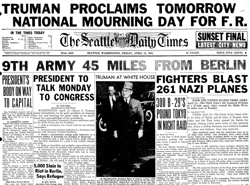 front page news about the death of President Franklin D. Roosevelt, Seattle Daily Times newspaper articles 13 April 1945