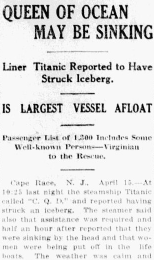 Queen of Ocean (Titanic) May Be Sinking, State newspaper article 15 April 1912