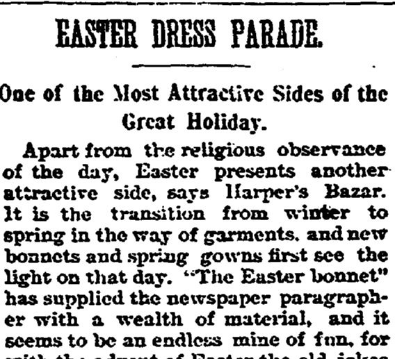 Easter Dress Parade, Trenton Evening Times newspaper article 29 March 1891