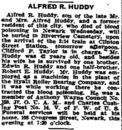 obituary for Alfred R. Huddy, Trenton Evening Times newspaper article 19 April 1918