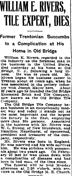 obituary for William E. Rivers, Trenton Evening Times newspaper article 21 July 1917
