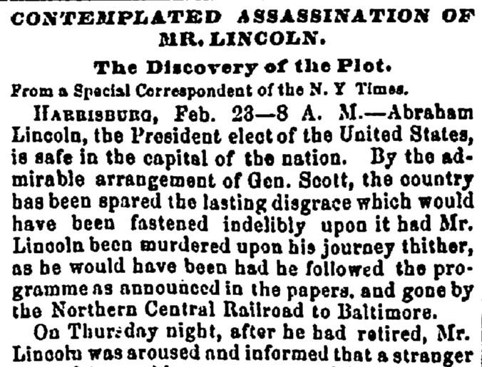 article about a plot to assassinate President-Elect Abraham Lincoln, Washington Reporter newspaper article 28 February 1861