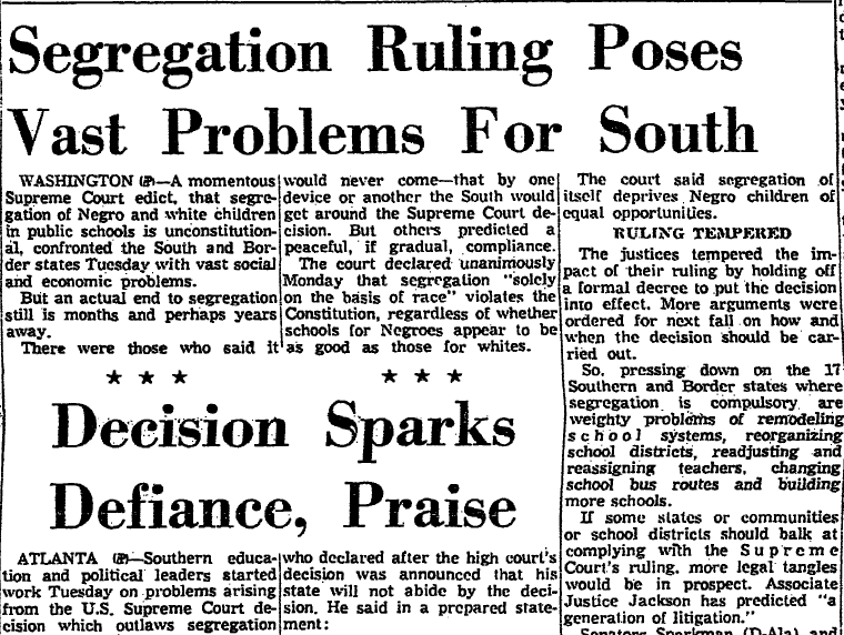 Segregation Ruling Poses Vast Problems for South, Aberdeen Daily News newspaper article 18 May 1954