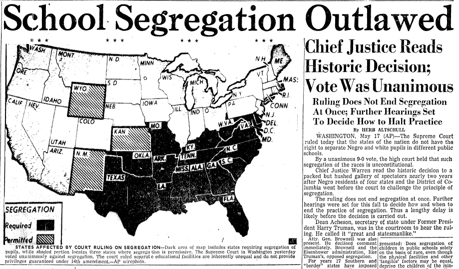 School Segregation Outlawed, Advocate newspaper article 18 May 1954