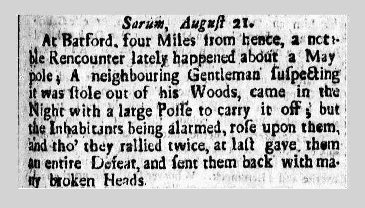 article about a dispute over a May pole, American Weekly Mercury newspaper article 11 November 1725