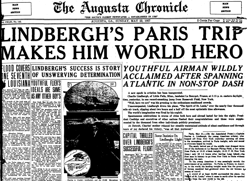frront-page news about Charles Lindbergh's solo flight across the Atlantic, Augusta Chronicle newspaper article 22 May 1927