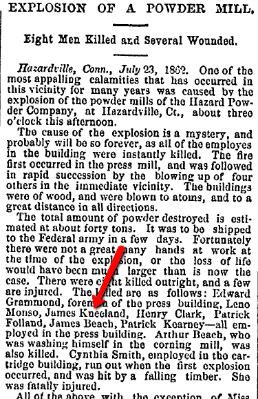 Explosion of a Powder Mill, Boston Evening Transcript newspaper article 24 July 1862