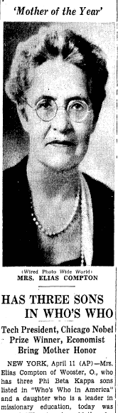 Mother of the Year (Mrs. Elias Compton), Boston Herald newspaper article 12 April 1939