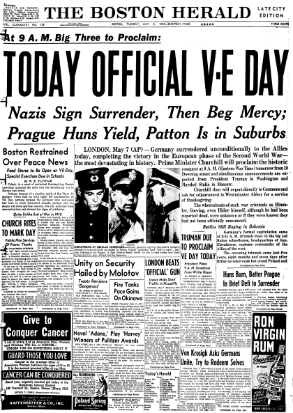 Today Official V-E Day, Boston Herald newspaper article 8 May 1945