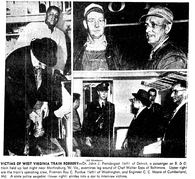 photos of the victims of a West Virginia train robbery, Boston Traveler newspaper article 10 March 1949