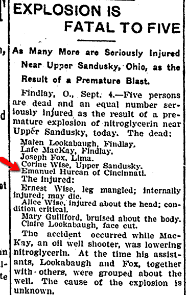 Explosion Is Fatal to Five, Daily Illinois State Journal newspaper article 5 September 1904