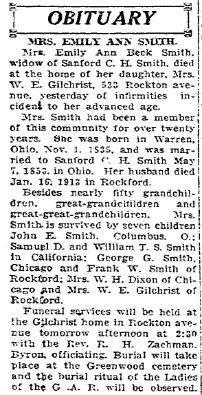 obituary for Emily Smith, Daily Register Gazette newspaper article 17 December 1921