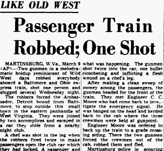 Passenger Train Robbed; One Shot, Dallas Morning News newspaper article 10 March 1949