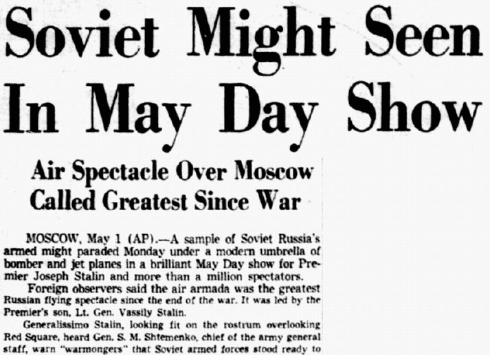 Soviet Might Seen in May Day Show, Dallas Morning News newspaper article 2 May 1950