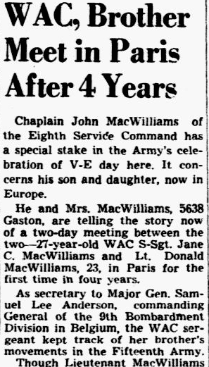 WAC, Brother Meet in Paris after 4 Years, Dallas Morning News newspaper article 8 May 1945