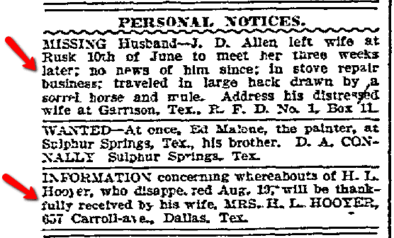 missing husband ads, Dallas Morning News newspaper advertisements, 12 September 1907