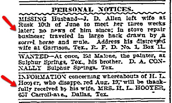 missing husband ads, Dallas Morning News newspaper advertisements, 12 September 1907