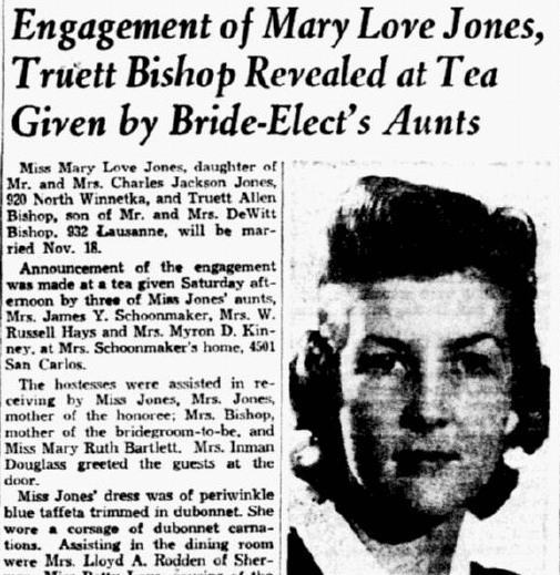 engagement notice for Mary Jones and Truett Bishop, Dallas Morning News newspaper article 29 October 1939