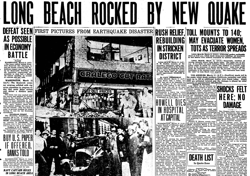 front-page news about the Long Beach earthquake, Evening Tribune newspaper article 11 March 1933