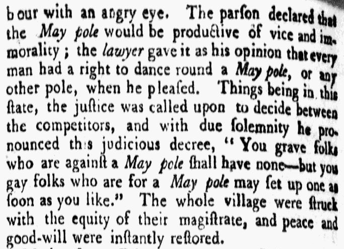 article about a dispute over a May pole, Federal Gazette newspaper article 19 February 1789