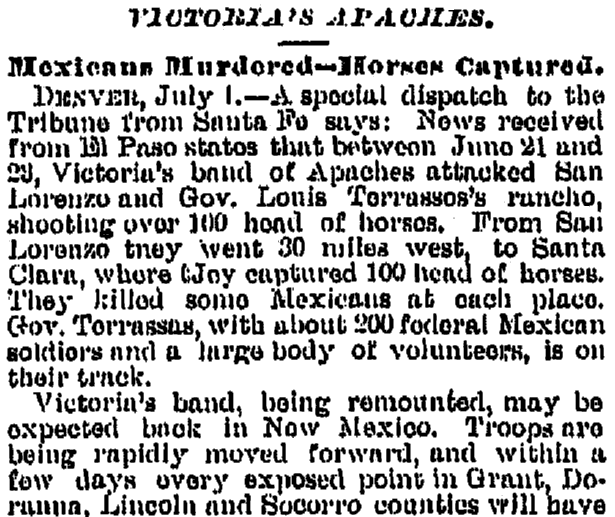 Victorio's Apaches, Galveston Weekly News newspaper article 8 July 1880