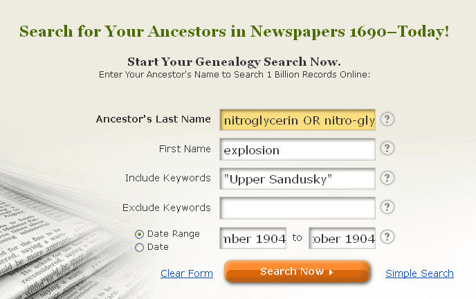 screenshot of GenealogyBank's search page for a search on nitroglycerin and explosion
