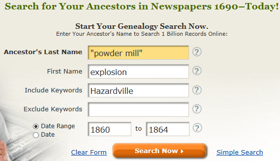 screenshot of GenealogyBank's search page for a search on powder mill and explosion
