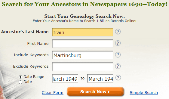 screenshot of GenealogyBank's search page for a search on train and Martinsburg