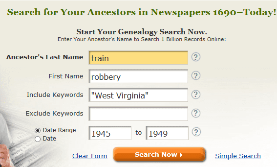 screenshot of GenealogyBank's search page for a search on train robbery and West Virginia