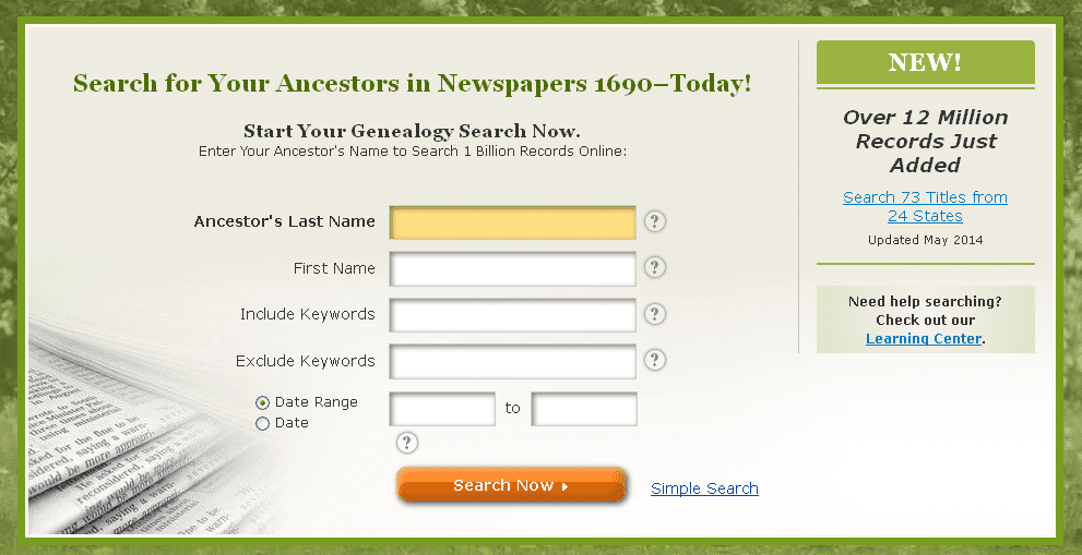 screenshot of the Advanced Search search box on GenealogyBank