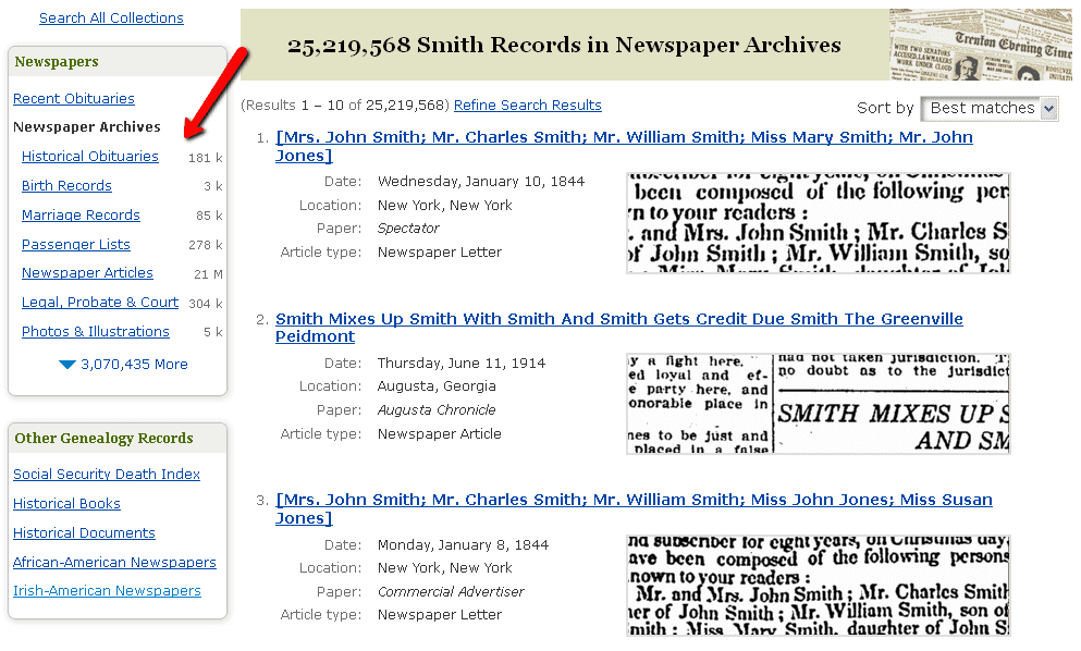 screenshot of the Search Results page in GenealogyBank showing the different types of newspaper articles available