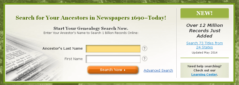 screenshot of the Simple Search search box on GenealogyBank