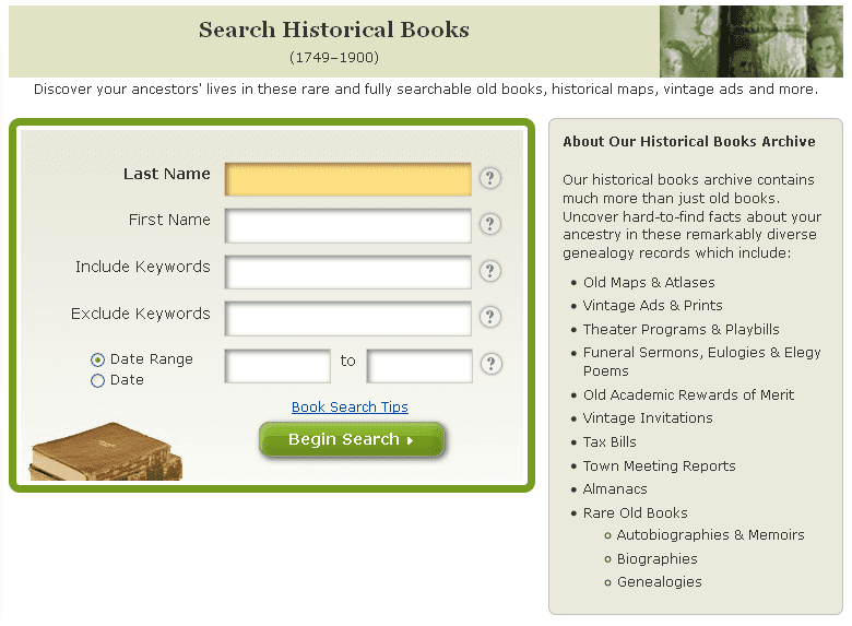 screenshot of GenealogyBank's search page for its Historical Book Archives